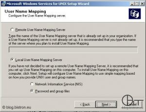 Windows Server 2003: Installation NFS-Server - User Name Mapping 1