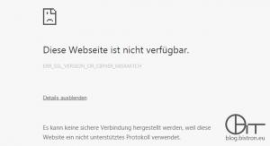 Chrome - SSL-Fehler beim Aufruf des APC NMC-Webinterface: ERR_SSL_VERSION_OR_CIPHER_MISMATCH