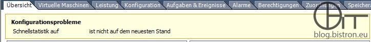 Konfigurationsprobleme - Schnellstatistik auf <Host> ist nicht auf dem neuesten Stand