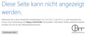 Internet Explorer - SSL-Fehler beim Aufruf des APC NMC-Webinterface: Diese Seite kan nicht angezeigt werden. Aktivieren Sie in den erweiterten Einstellungen TLS 1.0, TLS 1.1 und TLS 1.2...