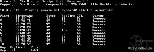 PingLogger: Logausgabe (Bildschirm) mit Ping-Nummer(Ping#), Uhrzeit (Timestamp), Größe in Bytes, Antwortzeit (RspTime), Time To Live (TTL) und Statusmeldung