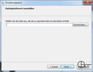 Druckermigrationsassistent Export - Schritt 2: Auswahl Quelldatei