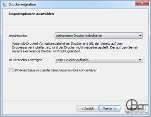 Druckermigrationsassistent Import - Schritt 4: Auswahl Importmodus...