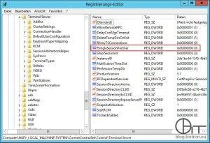 Registry-Key fSingleSessionPerUser
