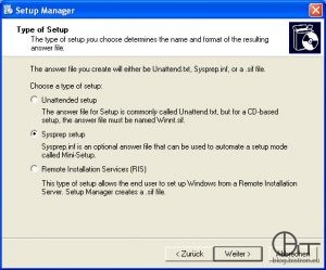 Setup Manager (3): Auswahl Setup-Typ