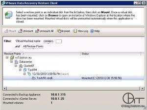 VDR Restore Client (FLR) - Mounten eines Wiederherstellungspunktes