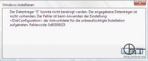 """WDS - fehlender Festplattencontrollertreiber - Fehler: Der Datenträger """""""" konnte nicht bereinigt werden. Der angegeben Datenträger ist nicht vorhanden. Der Fehler ist beim Anwenden der Einstellung  der Antwortdatei für die unbeaufsichtigte Installation aufgetreten. Fehlercode: 0x80300025"""