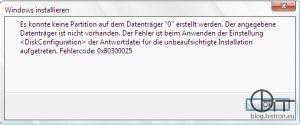 """WDS - fehlender Festplattencontrollertreiber - Fehler: Es konnte keine Partition auf dem Datenträger """""""" erstellt werden. Der angegeben Datenträger ist nicht vorhanden. Der Fehler ist beim Anwenden der Einstellung  der Antwortdatei für die unbeaufsichtigte Installation aufgetreten. Fehlercode: 0x80300025"""