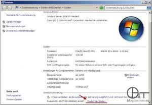 Windows Aktivierung: Systemsteuerung -> System -> Product Key ändern